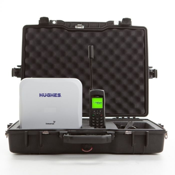 Hughes 9202 BGAN Land Portable Satellite Internet Terminal w/ WiFi + Iridium 9555 Satellite Phone