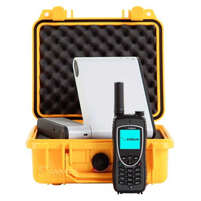 Inmarsat IsatHub iSavi WiFi Satellite HotSpot + Iridium 9575 Extreme Satellite Phone + Pelican 1200 Case - Yellow