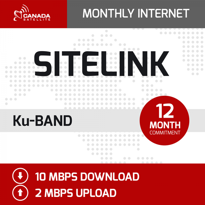 SiteLink Ku Band Monthly Internet - 12 Month Commitment (10 mbps Download / 2 mbps Upload)