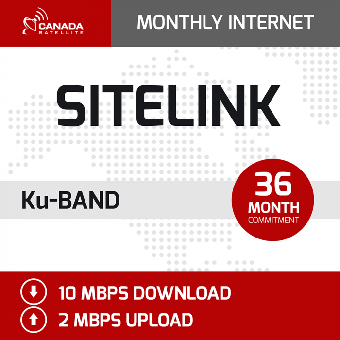 SiteLink Ku Band Monthly Internet - 36 Month Commitment (10 mbps Download / 2 mbps Upload)
