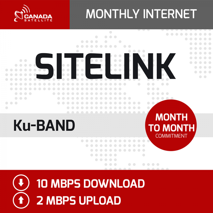 SiteLink Ku Band Monthly Internet - Month to Month (Up to 10 mbps Download / 2 mbps Upload)
