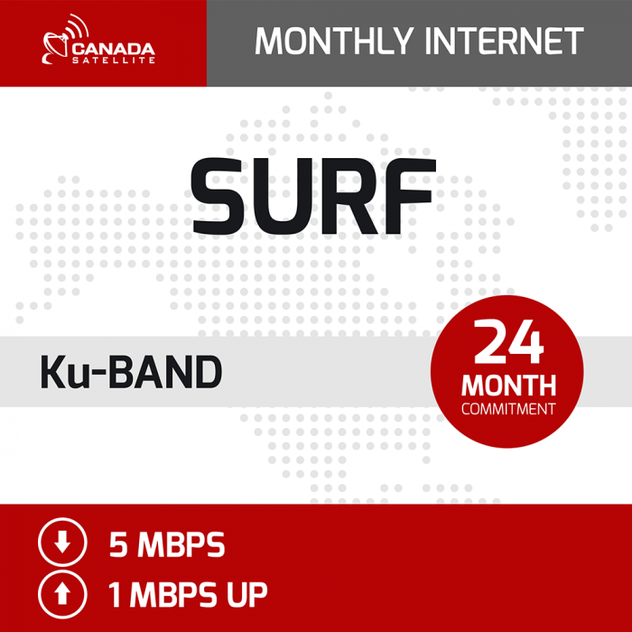 SURF Ku Band Unlimited Monthly Internet - 24 Month Commitment (Up to 5 mbps Download / 1 mbps Upload)