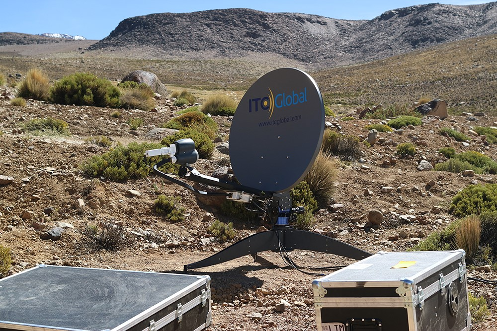 C-COM FLYAWAY ANTENNA DEPLOYED IN THE ANDES