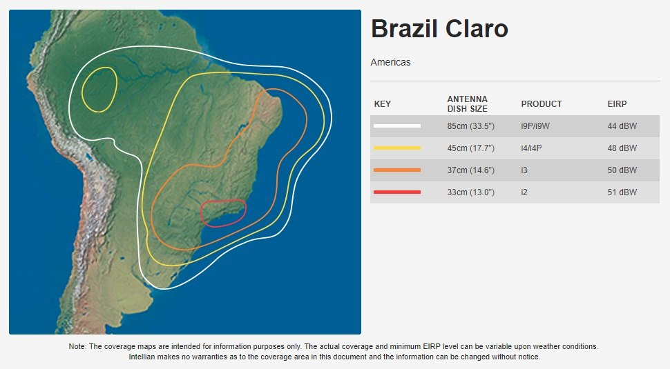 Intellian Brazil Claro Coverage Map