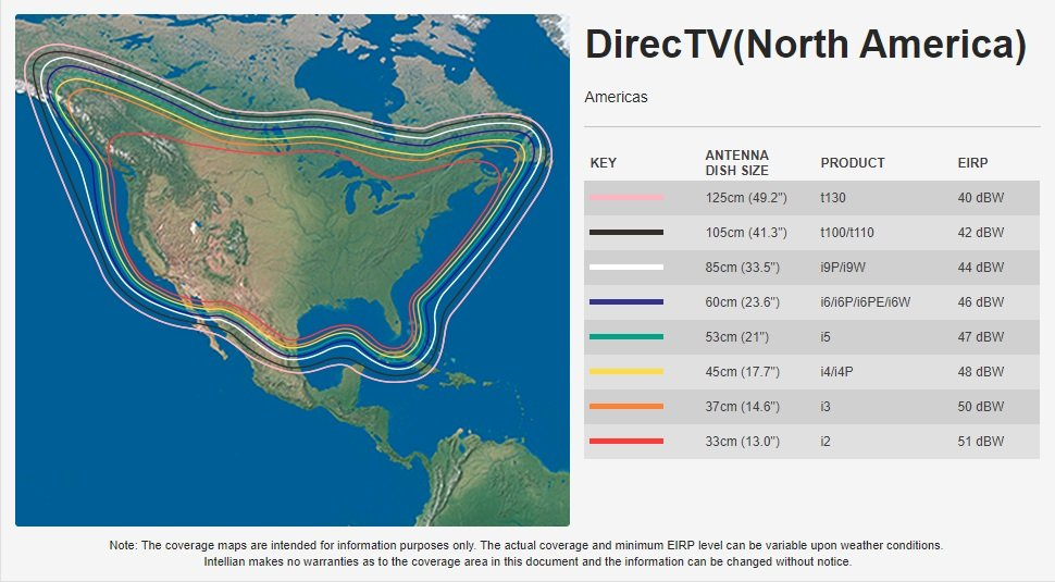 Intellian DirecTV North America Coverage Map