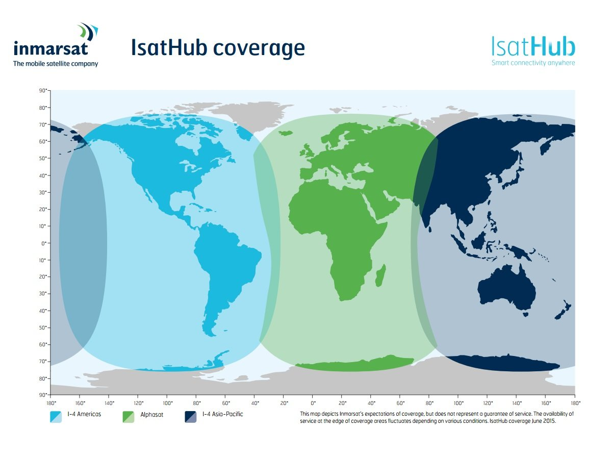 Inmarsat Isathub Coverage Map